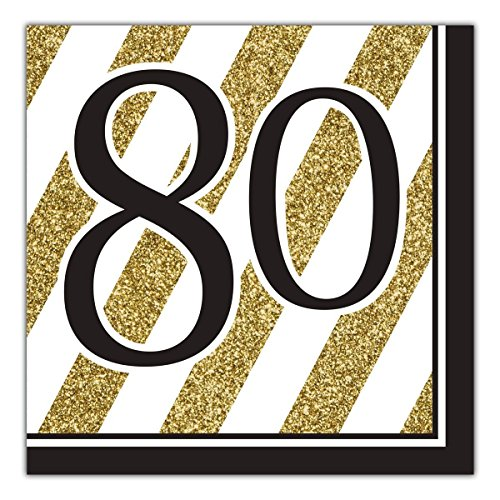 Creative Converting Black and Gold 80th Birthday Napkins (48 Count)