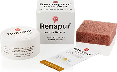 Renapur Leather Balsam, Natural Balm, Conditioner and Restorer (125 ml Box + Applicator Sponge) — Protector for Smoot...