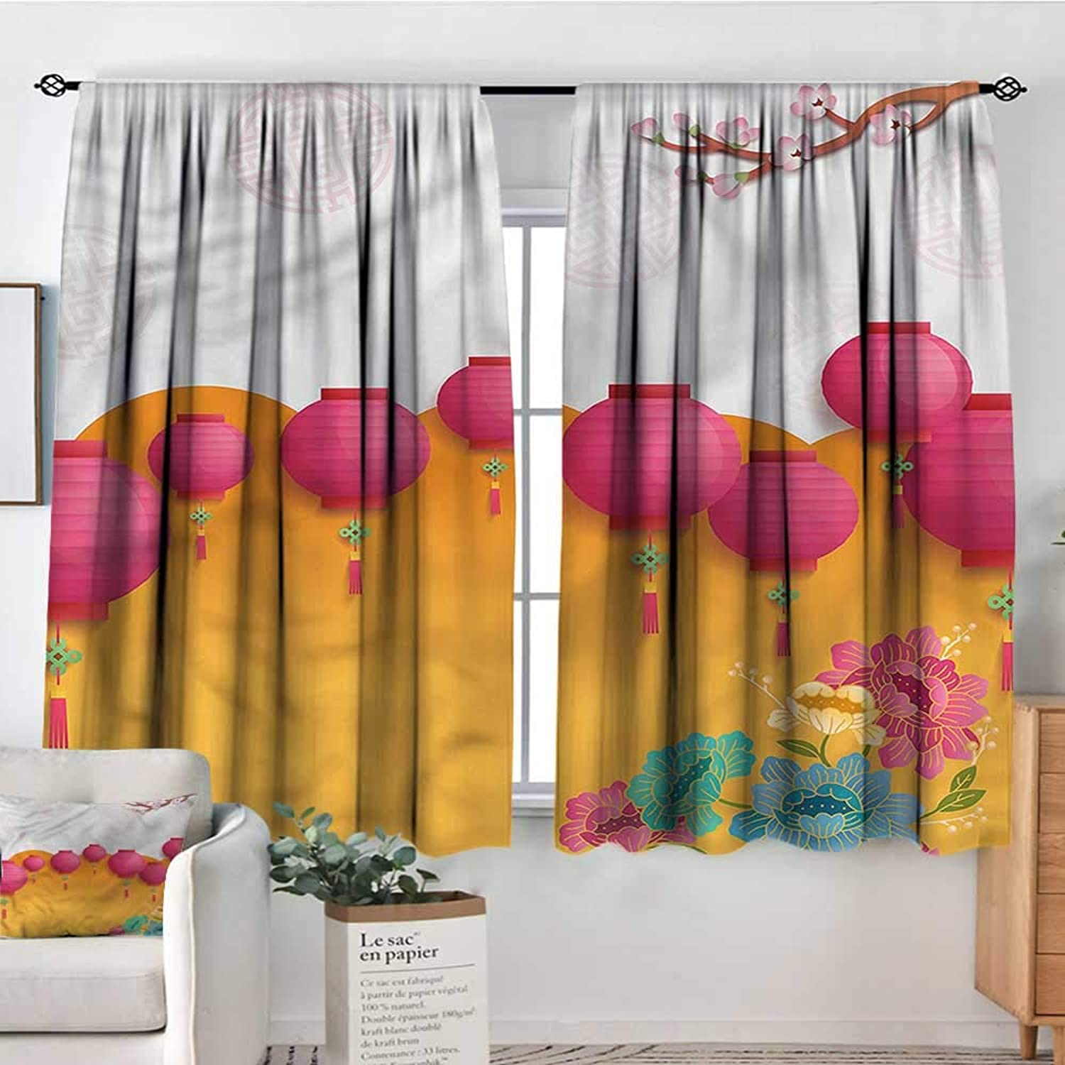 Sanring Lantern,Kids Decor Curtain Asian New Year Fun 42 X72  Printed Curtains for Iving Room