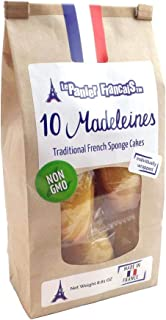 Madeleines Traditional French Sponge Cakes - Individually Wrapped Bag of 10 Madeleine Cookies - Imported from France by Le Panier Francais 250gr (8.81oz)