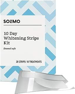 Amazon Brand - Solimo 10 Day Teeth Whitening Strips Kit, 10 Treatments