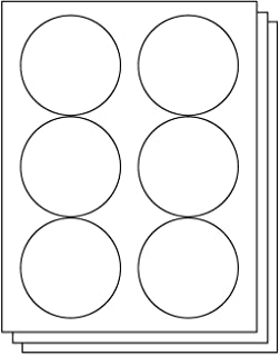 OfficeSmartLabels Round Circle Dot 3-1/3 Diameter StickersLabels for Laser & Inkjet Printers, 3.33 Inch, 6 per Sheet, White, 900 Labels, 150 Sheets