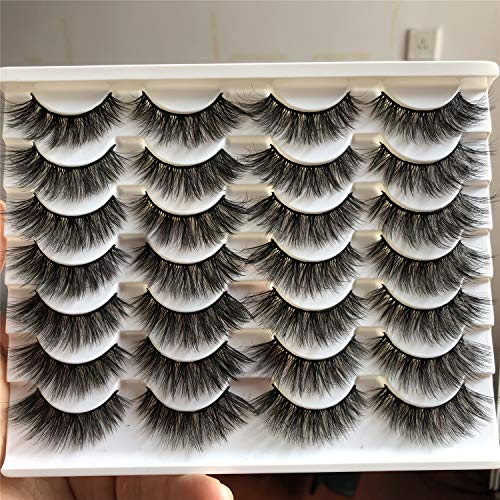 ALICROWN Cat Fluffy Eyelashes Natural Look False Lashes Mixed Lightweight Handmade Soft Volume 14 Pairs Faux Mink Pack