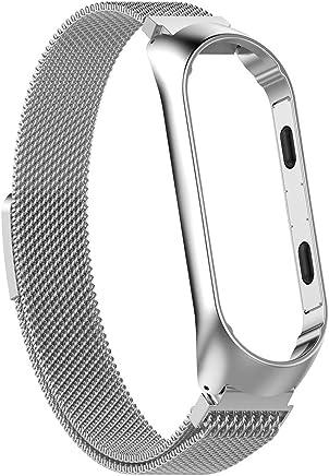 Domybest Correa de Reloj de Pulsera de Correa Ajustable de Acero Inoxidable, con Marco, para Xiaomi MI Band 3