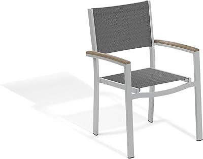Oxford Garden Travira Aluminum Frame with Vintage Tekwood Armcaps Sling Arm Chair (Set of 4