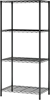 MULSH 4-Tier Wire Shelving Metal Wire Shelf Storage Rack Durable Organizer Unit Perfect for Kitchen Garage Pantry Organization in Black, 21