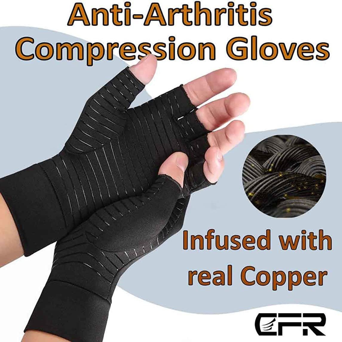 Elevin(TM)???? Compression Arthritis Gloves Fit Carpal Tunnel Joint Pain for Men Women (M)