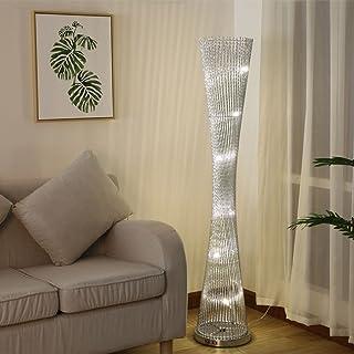 $lampe sur pied Lampe de plancher à rayures en aluminium tissé à LED et en aluminium avec des tiges en argent (Couleur : ...