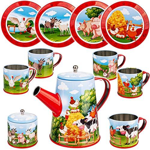 alles-meine.de GmbH 13 TLG. Set _ Puppengeschirr / Teeservice & Kaffeeservice - Bauernhof Tiere - Geschirr aus Blech - Metall - Blechgeschirr - Kinderküche - Picknickset Puppenkü..