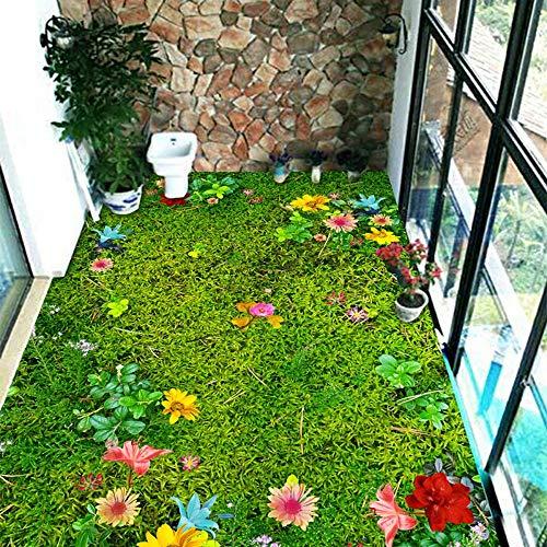 Benutzerdefinierte 3D selbstklebende Bodenaufkleber Garten Blumen Rasen Tapete Fotos Wohnzimmer Bad PVC Wasserdicht Rutschfeste, 150 * 105 cm