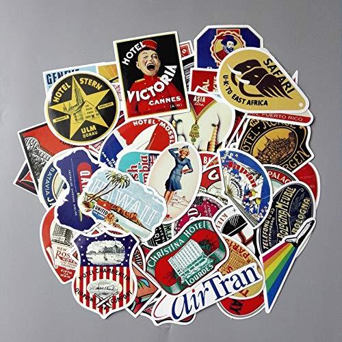 Blourstickers in retro-stijl, waterdicht, voor laptop, koelkasten, bagage, snowboard, snede, met rubber bekleed etiket voor doodle, 55 stuks