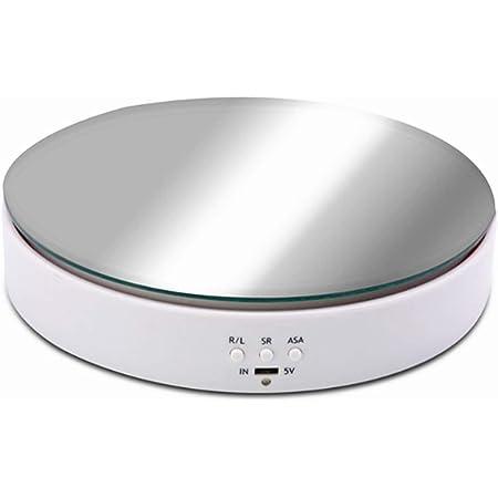 電動回転ディスプレイスタンド、バッテリーUSB使用ターンテーブルベアリング10KG(白い)