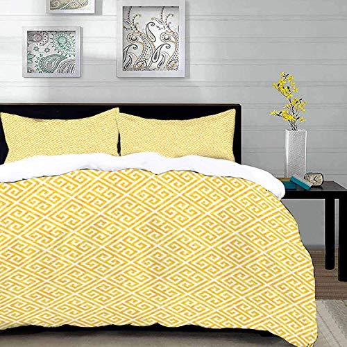 ropa de cama - Juego de funda nórdica, llave griega, patrón de mosaico amarillo y blanco con líneas retorcidas en cuadrados Laberinto de aspecto grunge, yello, juego de funda nórdica de microfibra con