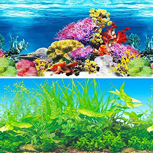IrisCargo Aquarium-Aufkleber, Aquarium-Hintergrund, PET-Hintergrund, Unterwasser-Poster, Wanddekoration (H-102 x 50 cm)