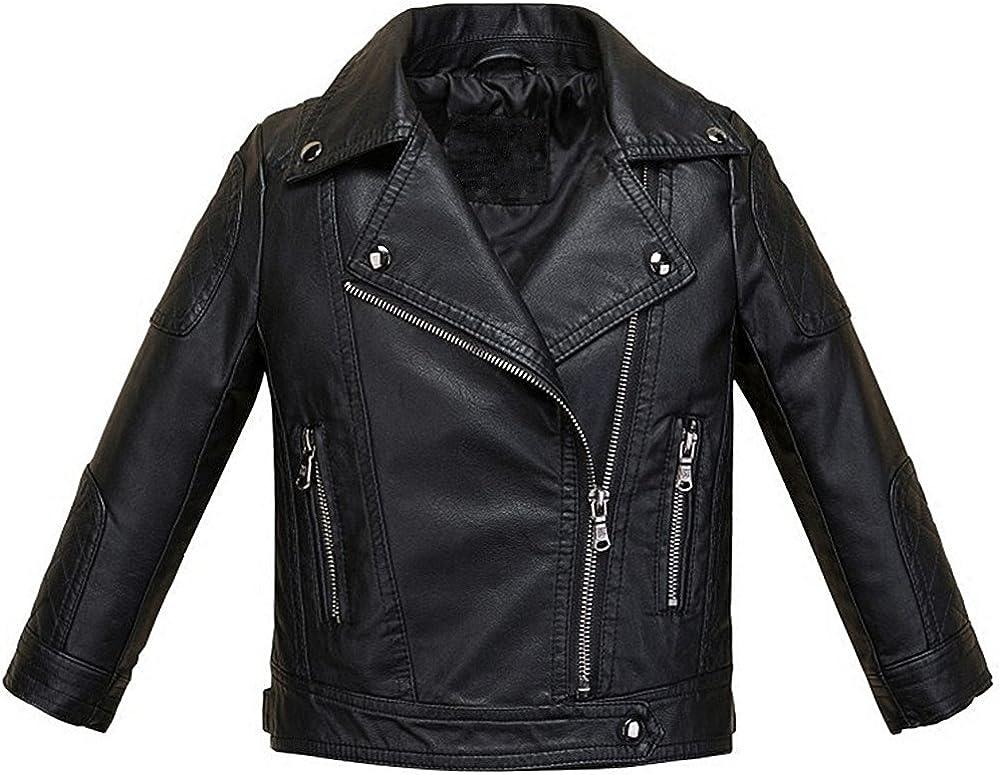 LJYH Boys Girls Fashion PU Leather Jacket Kids Zipper Coat