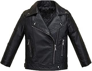 Boys Girls Fashion PU Leather Jacket Kids Zipper Coat