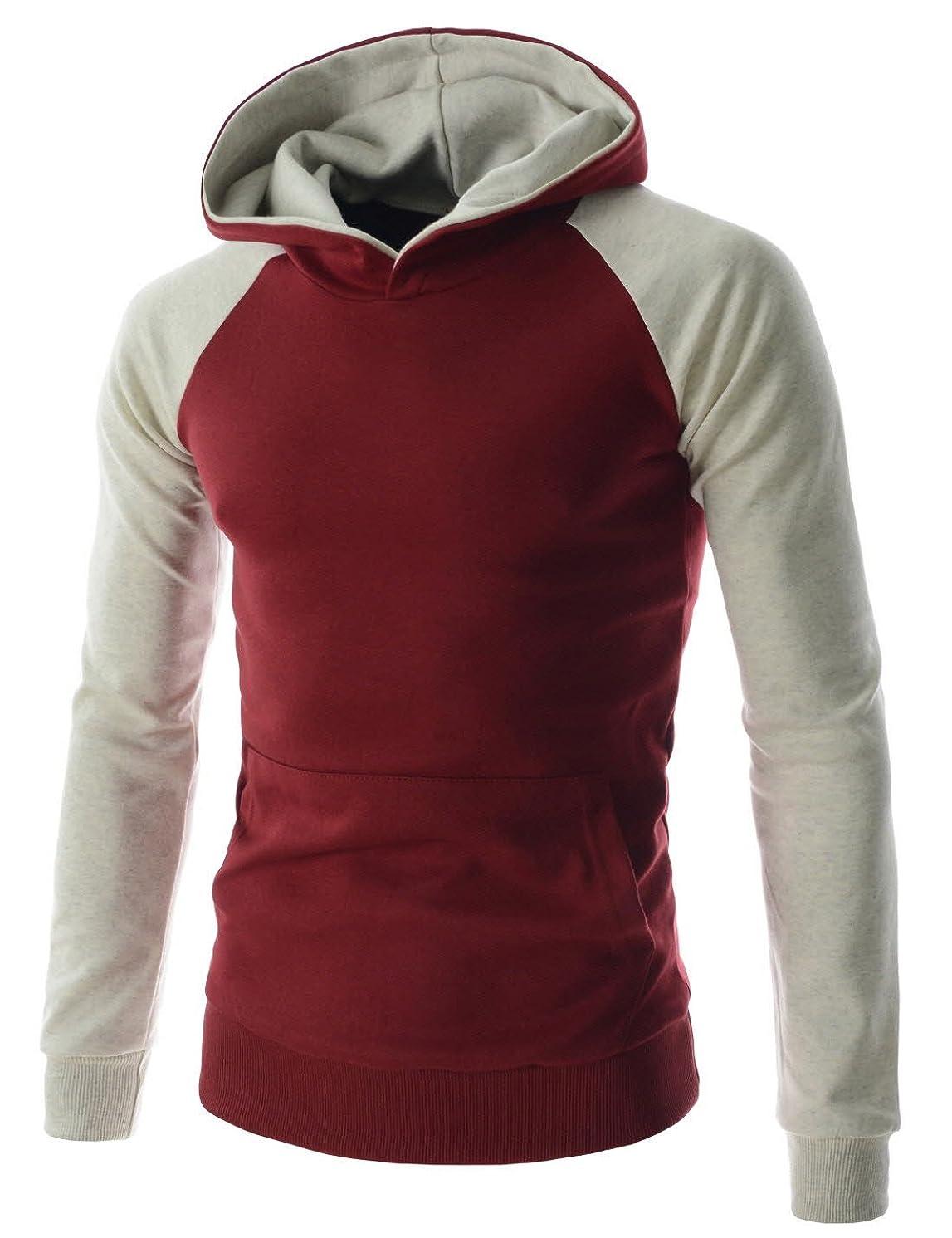 (MBH01) Men Contrast Raglan Hoodie String Connect Pocket Long Sleeve Tshirts