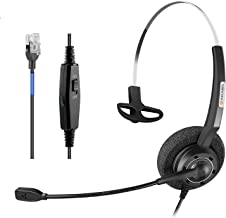 Arama Phones Headset RJ9 with Pro Noise Canceling Mic and Mute Switch Controls Wired Office Headset Compatible with Polyco... photo