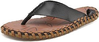 Z.L.FFLZ Men Sandals Men's Flip Flops Beach Slippers Genuine Leather Thong Non-slip Soft Flat Sandals sandals guess (Color...