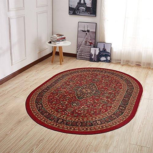 """Ottomanson Ottohome Collection Persian Heriz Oriental Design Non-Skid (Non-Slip) Rubber Backing Area Rug, 5' X 6'6"""" Oval, Dark Red"""