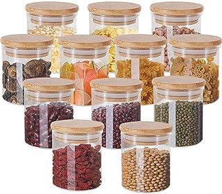 MBLife® Lot de boîtes de conservation en verre borosilicate avec couvercle en bambou - 12, 200 ml