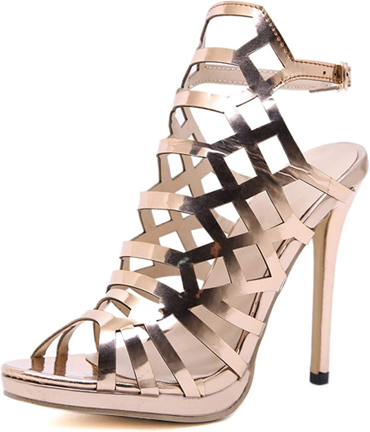 Ches 2019 Open ToeThin Heels Gladiator for Women Sandals Champagne Fashion Buckle Back Strap Ladies shoes