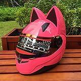 CJJ Casco de motocicleta con banda para orejas de gato, color rosa, XXL