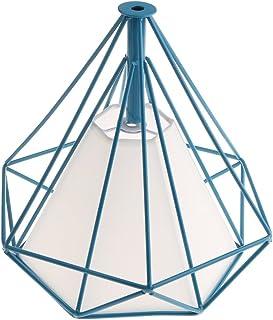 LOVIVER Estilo Retro Metal Hierro Cesta Jaula Restaurante Techo Iluminación Colgante Lámpara De Luz Sombra E27 Base - Dentro Azul Jaula Blanca