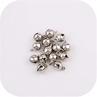 Silver Gold Nickel Copper Jingle Bells Pendants Hanging Christmas Ornaments Christmas Decorations Party DIY Crafts Accessories,Nickel 6Mm 30Pc