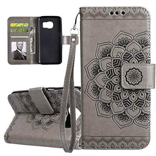 ISAKEN Compatibile con Samsung Galaxy S6 Custodia Cover, Libro PU Pelle Wallet Cover Flip Portafoglio Protezione Custodia con Supporto di Stand/Carte Slot/Strap[Shock-Absorption], Fiori: Grigio