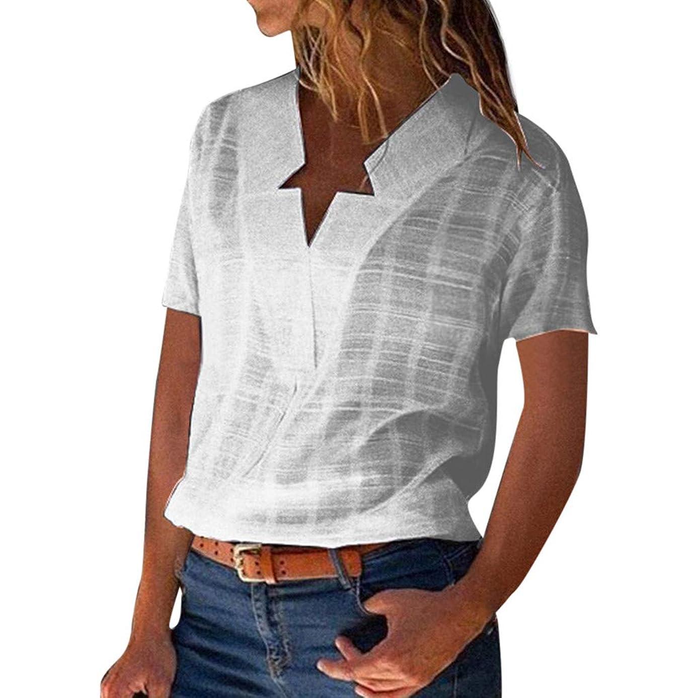 Women V Neck Solid Cotton Linen Short Sleeve Casual T-Shirts Blouse Top Summer Fashion Women 2019 Under $10