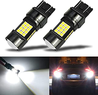 iBrightstar Newest Extremely Bright 36-SMD 3030 Chipsets 7440 7441 7443 992 LED Bulbs with Projector Lens replacement for Back Up Reverse Parking Daytime Running Lights, Xenon White