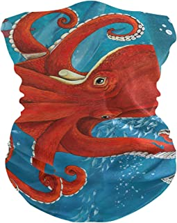 AGONA Ocean Cute Red Octopus Face Sun Dust Mask Neck Gaiter Headwear Headbands Balaclava Bandana Mask for Men Women Magic Scarf for Cycling Camping Motorcycling Running Sport
