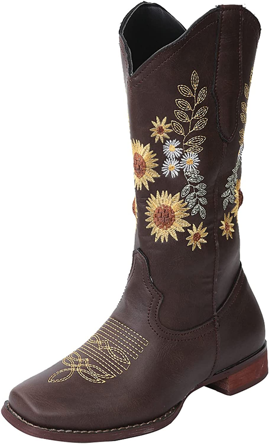 ZiSUGP Cowgirl Boots For Women Low Heel Modern Western Cowgirl Boot Wide Calf Embroidered Knee High Boots