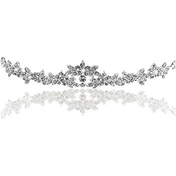 PIXNOR Hochzeit Prom Sparkly Bridal Crown Strass Crystal Dekor Stirnband Schleier Diadem (Splitter)