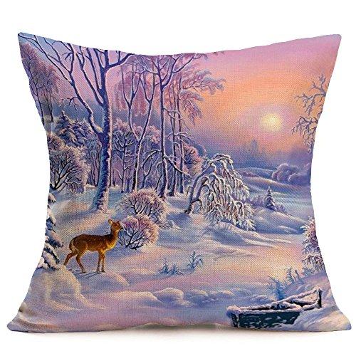 Fossrn Navidad Fundas Cojines 45x45,Patrón de Paisaje Nieve Funda de Almohada Decorativo (07)
