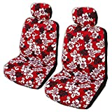 Side Airbag Compatible; Red Monstera's Shadow Hawaiian Separate Headrest Car Seat Cover; Made in Hawaii; Set of 2