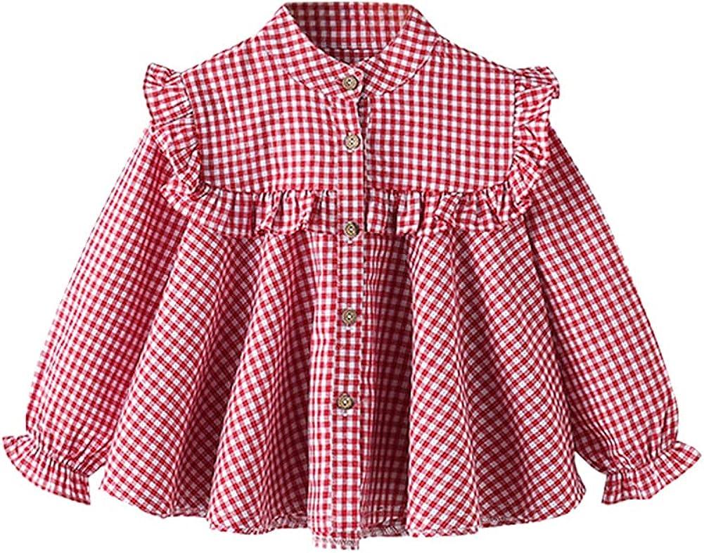 LittleSpring Little Girls Long Sleeve Blouse Plaid Ruffle Top Casual
