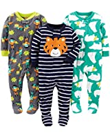 Simple Joys by Carter's Baby Boys' Toddler 3-Pack Flame Resistant Fleece Footed Pajamas, Tiger/Polar Bear/Superhero, 4T