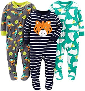 Image of 3 Pack Carter's Polar Bear, Tiger and Superhero Fleece Footed Pajamas for Toddler Boys & Infant Boys - See More Designs