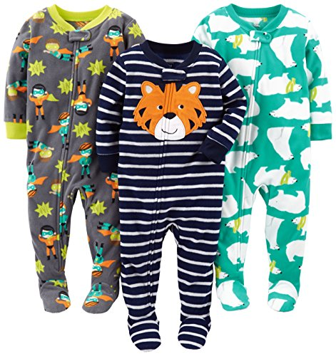 Simple Joys by Carter's Baby Boys' 3-Pack Flame Resistant Fleece Footed Pajamas, Tiger/Polar Bear/Superhero, 18 Months
