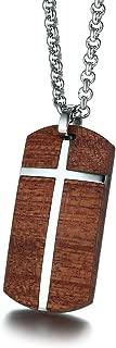 Men's Stainless Steel Wood Cross Keychain Key Ring for Home Car Keys Gift