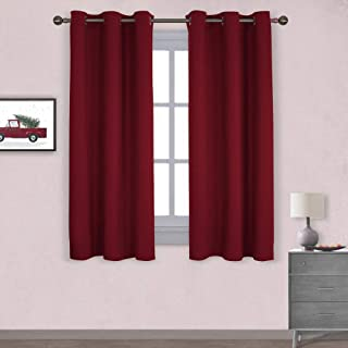 NICETOWN Christmas Holiday Decor Thermal Insulated Solid Grommet Blackout Curtains/Drapes for Living Room (1 Pair,42 by 63 inches,Burgundy Red)