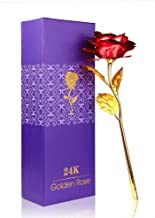 Kids Mandi 24K Red Golden Rose 10 Inches with Gift Box - Best Gift for Loves Ones, Valentine's Day, Mother's Day, Anniversary, Birthday