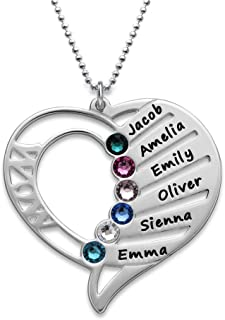 MyNameNecklace Engraved Mom Necklace with Swarovski Crystals-Personalized Heart Pendant-Precious Metals Sterling Silver&Gold Mother Day Jewelry Gift Up to 6 Names