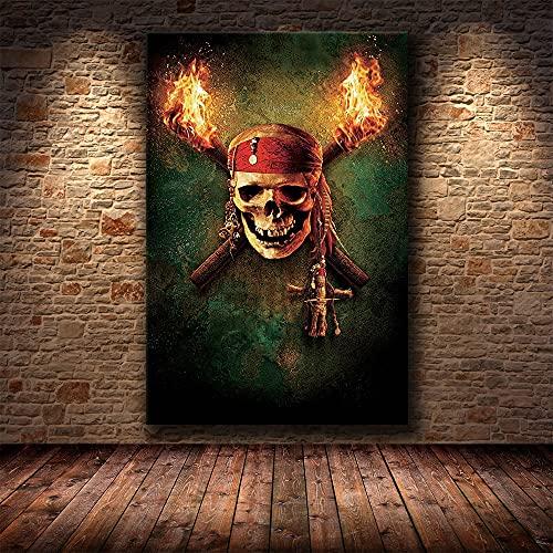 Puzzle 1000 piezas Imagen de arte de retrato de película clásica de calavera pirata de terror de Halloween en Juguetes y juegos Gran ocio vacacional, juegos interactivos famil50x75cm(20x30inch)