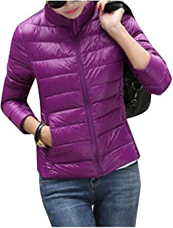 Womens Solid Stand Up Collar Warm Portable Pea Coat Jackets Sky Blue US L=China XL