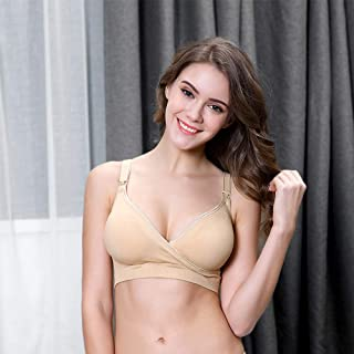 Better Look Maternity nursing bra For Feeding Breastfeeding Clothes for Pregnant women Pregnancy Breast feeding underwear clothing For Women (Beige, M)