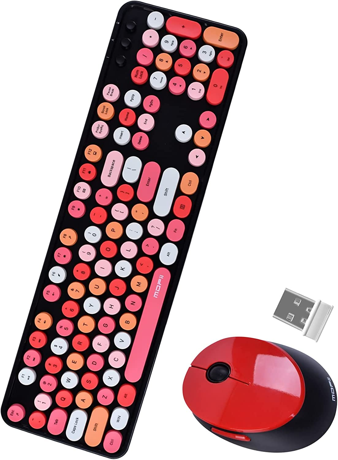 104-key Color Wireless Keyboard and Mouse Combination, Typewriter Key Office Keyboard, 2.4GHz Non-delay Connection and Optical Mouse Combination.(Red & Black Style)