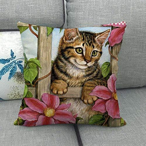 Lindo Gato Lindo Animal doméstico Lino Abrazo Funda de Almohada Almohada Abrazo Funda de Almohada 1432-6_45 * 45cm